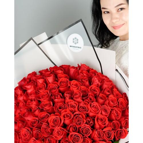 Купить на заказ Букет из 101 красной розы с доставкой в Текели