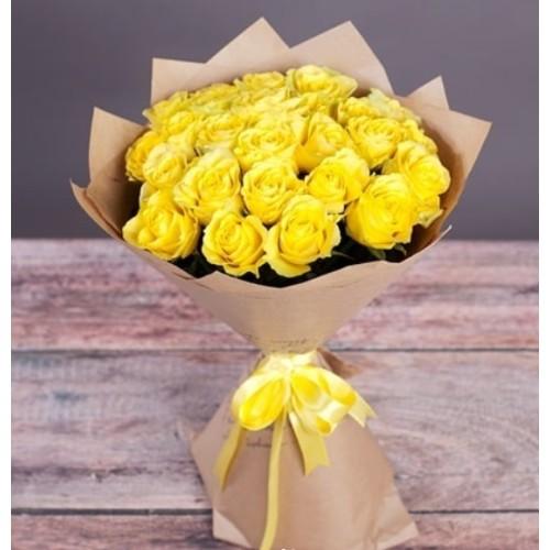 Купить на заказ Букет из желтых роз с доставкой в Текели