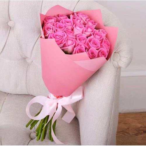 Купить на заказ Букет из 21 розовой розы с доставкой в Текели
