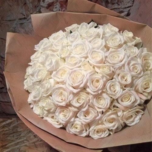 Купить на заказ Букет из 101 белой розы с доставкой в Текели